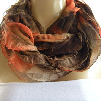Tie dyed Sunset Infinity scarf  Flamenco Necklace Scarf  Orange  Red Brown ruffle cowl tie dye