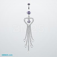 Heart Crystalline Star Falls Belly Button Ring