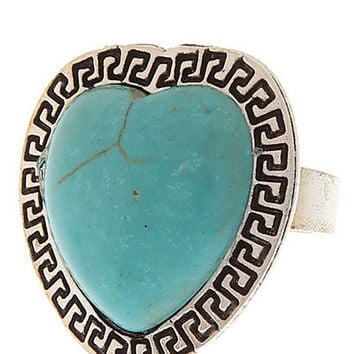 Beautiful Stone w Greek Key Imprint Edge Cocktail Ring
