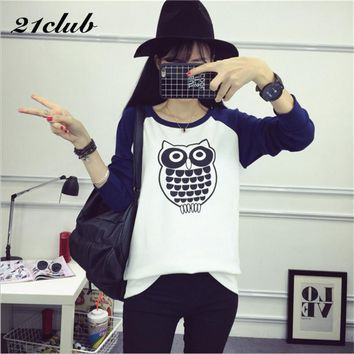 21Club Owl Pattern T Shirt Women Round Neck Long Sleeves Loose T-shirt Tops Autumn 2017 Famous Brand Fashion Poleras De Mujer