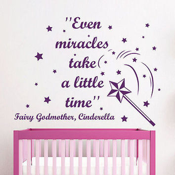 Quote Cinderella Wall Decals Magic Wand Star Decal Girl Room Vinyl Decor MR351