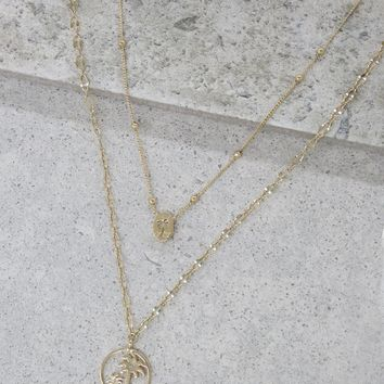 Layered Palm Tree Necklace in Gold