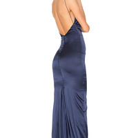 Gemeli Power Sachi Lu Gown in Navy Silk | REVOLVE