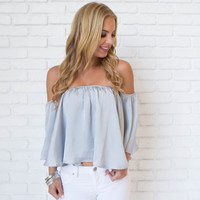 Satin Chic Off Shoulder Blouse In Ice Blue