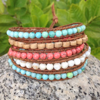 BraceletsForMe 5 Wrap Beachy Bracelet Natural Light Brown Leather with Blue Crazy Agate, Heishi Cocowood, Coral Turquoise And Shell Beads
