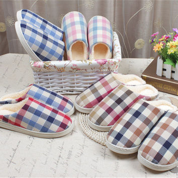 Korean Plaid Thicken Winter Couple Home Cotton Slippers [6034262145]