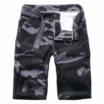 Mens Summer Cotton Breathable Camo Printed Knee Length Casual Shorts