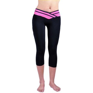 Women Sport Athletic Gym Workout Fitness Yoga Waistband Capri Leggings Pants