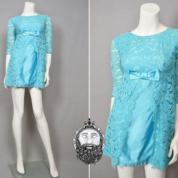 Vintage 60s Mini Dress Turquoise Blue Satin 1960s Lace Dress Mad Men Cocktail Party Mod Gogo Micro Dress Babydoll Dress Empire Waist