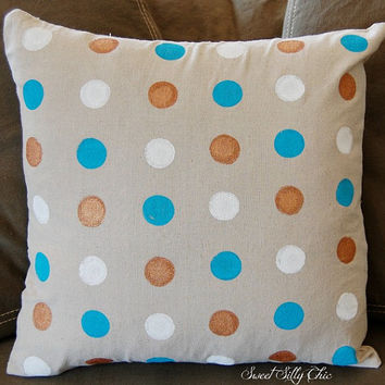 Hand Painted Big Dots Pillow Cover, Blue Copper White Polka Dot Pillow Cover,Throw Pillow Cover, Cover Only or With Pillow Insert
