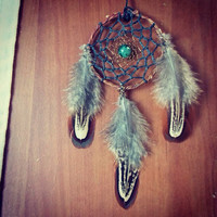 Small Boho Dream Catcher for Car Rear View Mirror with Tree Agate or Necklace // Hippie Gypsy Decor