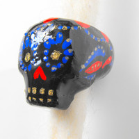 Dreadlock Bead 13mm Dread Bead Sugarskull Sugar Skull One of A Kind Hand Cast Hand Painted Resin Bead for Dreads