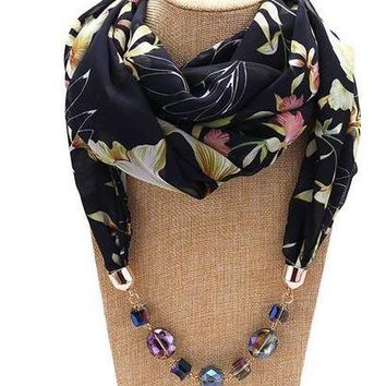 RUNMEIFA Decorative Jewelry Scarf Chiffon Necklace Resin Beads Pendant Women Scarf Fresh Spring/Autumn Muslim Head Scarves Hijab