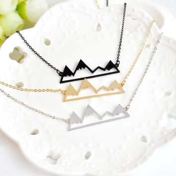 MISANANRYNE New 3 Colors Metal Link Summer Chain Necklace collar snow mountains Pendant Necklace For Women Best Friend Gifts