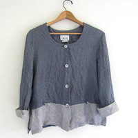 90s rayon shirt. blue button up blouse. oversized cropped shirt.