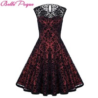 Belle Poque Summer Dresses Casual Woman Clothing 2018 Retro Tunic Women Vintage Lace Party Dress 50s Big Swing Rockabilly Dress