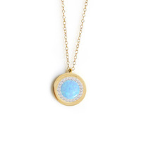 Mini Crystal Eye Pendant (blue opal)