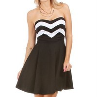 Black/White Surplice Dress
