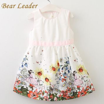 Bear Leader Girls Dress  Sleeveless Little Girls Florals Pattern Dress