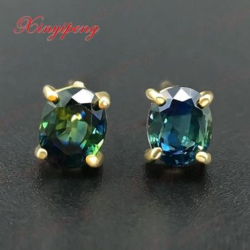 18 k yellow gold with 100% natural sapphire studs earrings Blue green color of fire Fine jewelry contracted