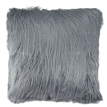 "18"" Winter's Beauty Slate Blue Faux Fur Super Soft Decorative Throw Pillow"