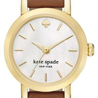 Women's kate spade new york 'metro' leather strap watch, 20mm - Tan/ Gold