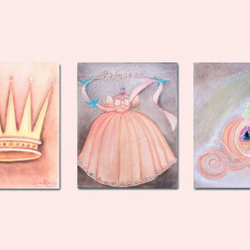 Baby Girl Nursery, Princess Wall Art, Nursery prints, Peach Princess Decor, Girls room Decor, Princess Decor, Kids baby decor, Nursery decor
