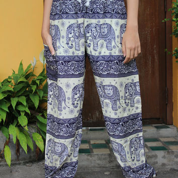 Hippie Pants Boho Harem Pants Elephant Yoga pants Blue Unisex