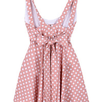 ROMWE Polka Dots Print Backless Bowknots Zippered Pink Dress
