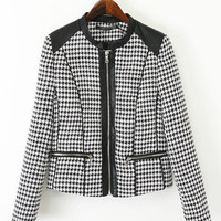 White and Black Houndstooth Pattern Zip Sleeve Leather Jacket