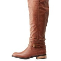 Cognac Belt-Wrapped Flat Riding Boots by Charlotte Russe