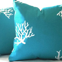 Decorative turquoise pillow cover , indoor outdoor, Beach poolside pillow cover with White 16 x 16