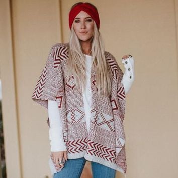Merrow Indie Folk Print Ruana - Red