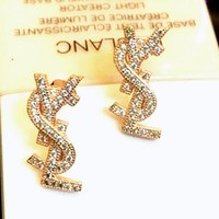 YSL Fashion Women Earring alphabet s925 sterling silver earrings