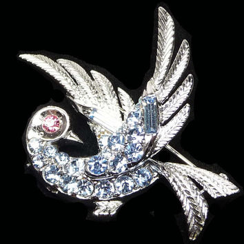 Lisner Bird Brooch - Blue Rhinestone Designer Signed Jewelry - Vintage Figural Birds Pin