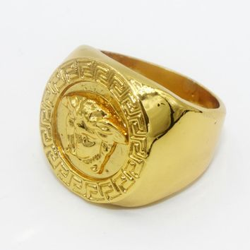 8DESS Versace Woman Men Fashion Plated Ring Jewelry