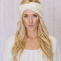 Knitted Headband Bow Ear Warmer in Ivory Cream (HBK3-12)