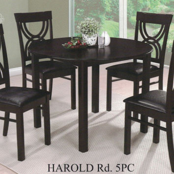 "Casa Blanca CB-Harold-RD-5PC 5 pc Harold espresso finish wood 42"" round dining table set"