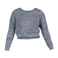 MARLED YARN CROPPED SWEATER - Navy - ESSENTIALS