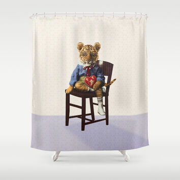 Tiny Tiger Valentine Shower Curtain by Peter Gross