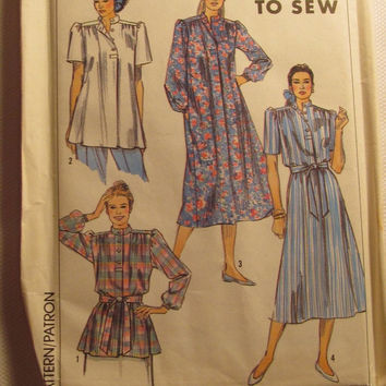 SALE Uncut 1980's Simplicity Sewing Pattern, 9544! Small/Medium/Large/XL/XXl/Women's/Misses/Pull Over Dress/Tunic/Yoke & Stand up Collared D