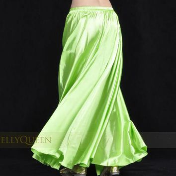 1pcs/lot new style women sexy Shining Satin Long Skirt Swing Skirt dancing lady Belly Dance Costume 14 color