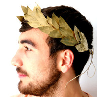 Man's Gold Leaf Headband. Romeo crown Costume, Greek God,  Caesar, Grecian Man  Headpiece, Holiday hair wreath