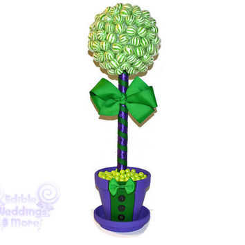 Purple and Green Tuxedo Lollipop Topiary, Candy Topiary, Villain Theme Topiary, Villain Centerpiece, Purple and Green Centerpiece, Birthday