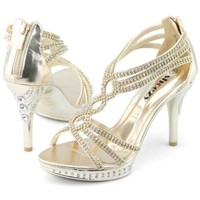SHOEZY Gorgeous Womens Cross Strappy High Jewels Heels Platform Sandals