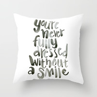 Smile Throw Pillow by Pineandpapyrus