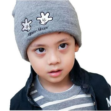 Boys girls Gray Beanie Slouchie Hat Kids Accessories Knitted unisex cap Children's hat Small hand pattern For autumn 1pc H025