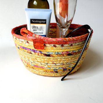 Honeymoon Gift Clothesline Basket - Sunny Yellow and Melon -  Handmade Wedding Gift Bowl - Coiled Rope Organizer - OOAK Fiber Art