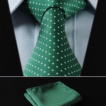 "TD119G8-T4 Green Polka Dot 3.4"" Silk Wedding Classic Woven Men Tie Necktie Pocket Square Handkerchief Set Suit"