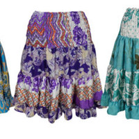 Boho GYPSY Recycled SILK Vintage Flare Tiered Knee Length Ruffle Skirt Lots Of 3